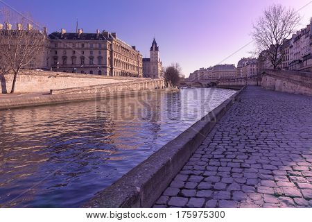 Embankment of the Seine near the Ile de la Cite in the winter morning, Paris, France