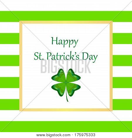 Happy Saint Patricks Day on textured background. Hand drawn Happy St. Patrick s Day lettering typography for postcard card flyer banner template. Typographic design for St. Patricks Day