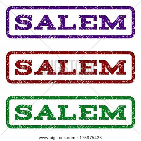 Salem watermark stamp. Text tag inside rounded rectangle with grunge design style. Vector variants are indigo blue, red, green ink colors. Rubber seal stamp with unclean texture.