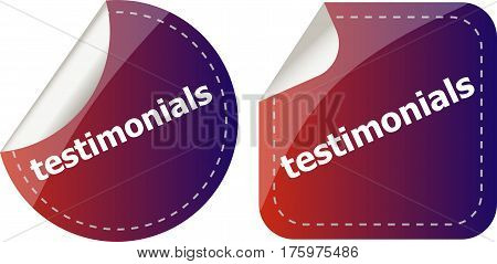 Stickers Label Set Business Tag With Testimonials Word