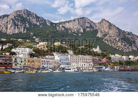 Capri Italy - August 31 2016: Boats moored at Marina Grande on famous italian island of Capri.