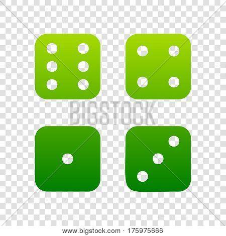 Devils Bones, Ivories Sign. Vector. Green Gradient Icon On Transparent Background.