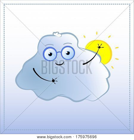Cartoon character waves hand. Cute Cloud in glasses vector illustration. Hand-drawn character for nature lessons environmental education atmosphere phenomenon weather forecast. Cloud and sun