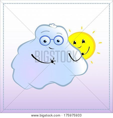 Cartoon character with a friend. Cute Cloud in glasses with sun vector illustration. Hand-drawn character for romantic relationship first love friendship good mates emotional intelligence concept