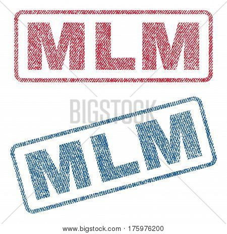 Mlm text textile seal stamp watermarks. Blue red fabric vectorized texture. Vector tag inside rounded rectangular shape. Rubber emblem with fiber textile structure.