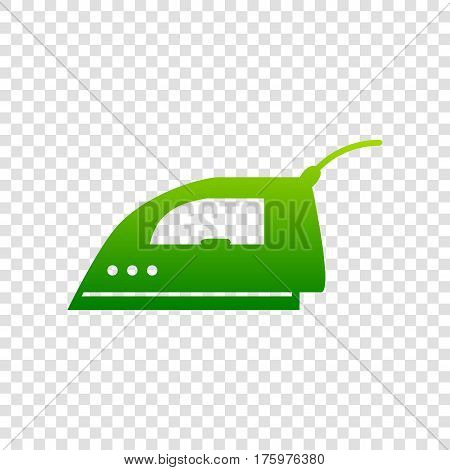 Smoothing Iron Sign. Vector. Green Gradient Icon On Transparent Background.