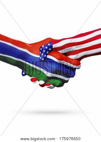 Flags Gambia and United States countries handshake cooperation partnership and friendship or sports competition isolated on white