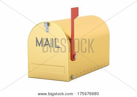 Gold Mailbox 3D rendering isolated on white background