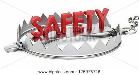 trap with safety inscription 3D rendering isolated on white background