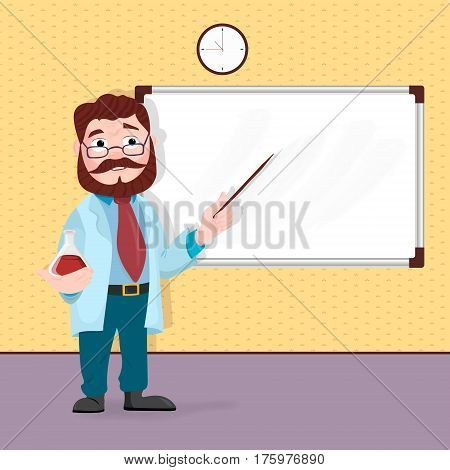 Scientist professor standing in front of blackboard teaching student in classroom at school, college or university.
