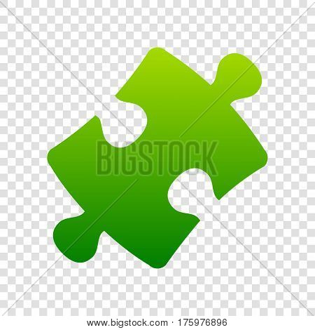 Puzzle Piece Sign. Vector. Green Gradient Icon On Transparent Background.