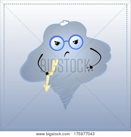 Cartoon character angry. Cute Cloud in glasses with flash light vector illustration. Hand-drawn character for frustration bad mood feel upset furious or bad behavior emotional intelligence concept