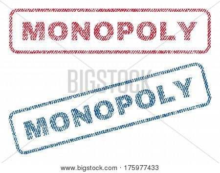 Monopoly text textile seal stamp watermarks. Blue red fabric vectorized texture. Vector tag inside rounded rectangular shape. Rubber sign with fiber textile structure.