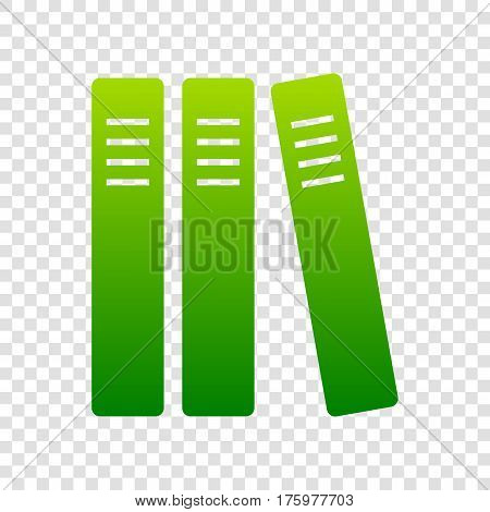 Row Of Binders, Office Folders Icon. Vector. Green Gradient Icon On Transparent Background.