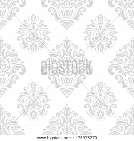 Damask classic light silver pattern. Seamless abstract background with repeating elements