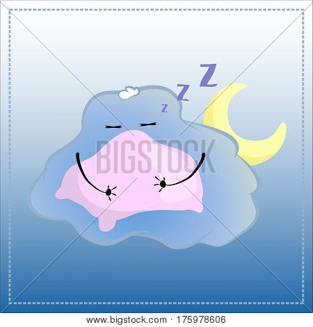 Cartoon character sleeping on pillow. Cute Cloud in glasses vector illustration. Hand-drawn character for night sleep rest after hard day tired child night time relaxation bedtime lullaby concept