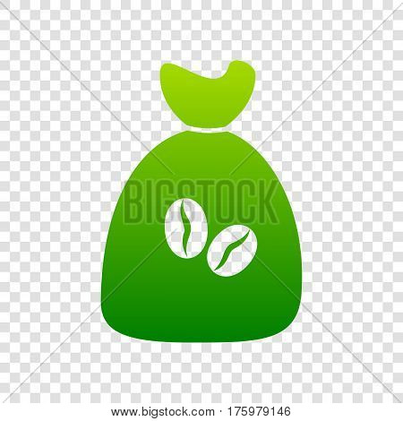 Coffee Bag Icon. Coffee Bag Vector. Coffee Bag Icon Button. Vector. Green Gradient Icon On Transpare