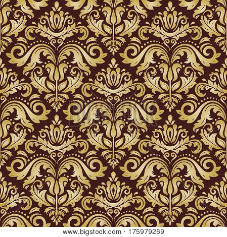 Seamless damask golden pattern. Traditional classic orient ornament