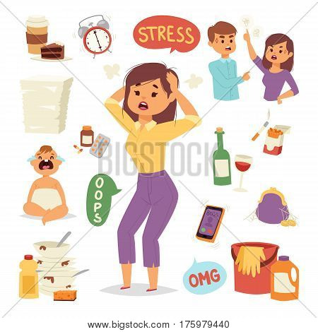 Vector illustration of funny brunette stressed woman with her hands on the head and wide opened mouth headache tired female character. Problem emotion frustration depression fase.