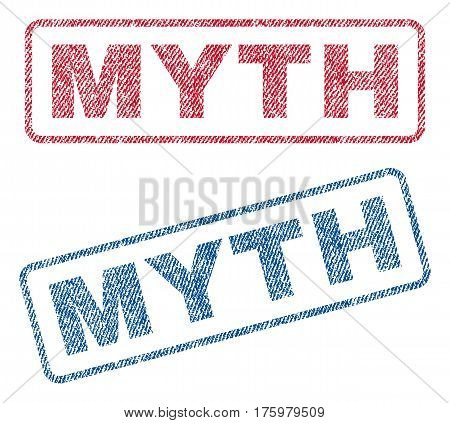 Myth text textile seal stamp watermarks. Blue red fabric vectorized texture. Vector caption inside rounded rectangular banner. Rubber emblem with fiber textile structure.