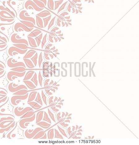 Oriental pink frame with arabesques and floral elements. Floral fine border. Greeting card with place for text