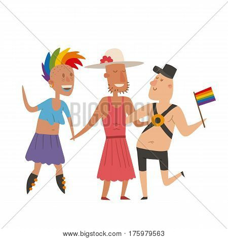 Homosexual gay and lesbian people marriage man, woman couples family and colors free love ceremony community characters tolerance symbol vector illustration. Flat set of male and female.