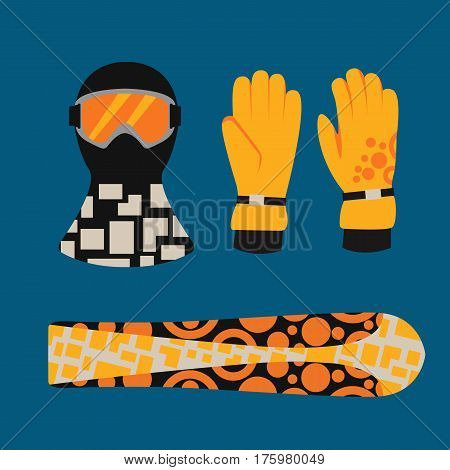 Snowboard sport clothes and tools elements. Snowboarding elements isolated winter sport equipment