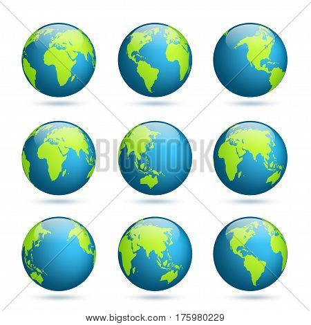 Vector y foto earth globe world map set planet bigstock world map set planet with continentsrica asia australia gumiabroncs Choice Image