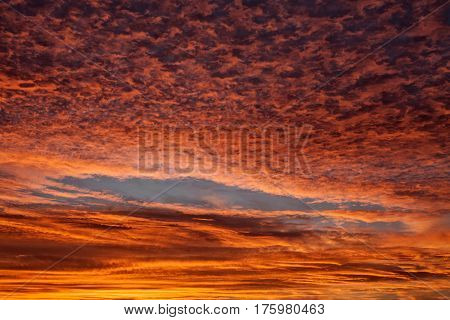 Sunset red cloud formation in a wonderful texture