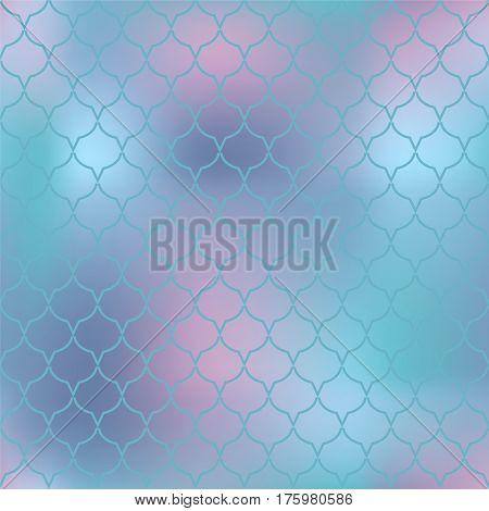 Mermaid fish skin vector pattern. Abstract fish scale seamless pattern for marine design. Fishscale pattern square tile. Fish tail ornament with gradient mesh. Regular scale net pattern for background