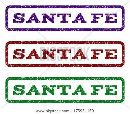 Santa Fe watermark stamp. Text tag inside rounded rectangle frame with grunge design style. Vector variants are indigo blue, red, green ink colors. Rubber seal stamp with scratched texture.