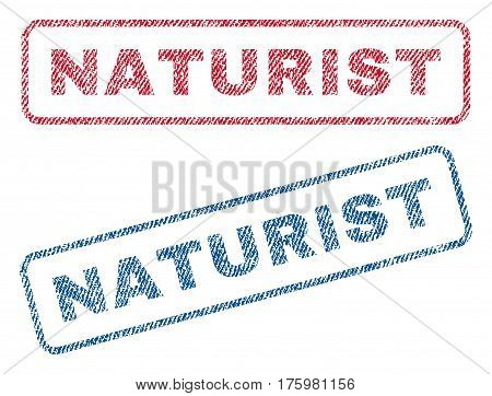 Naturist text textile seal stamp watermarks. Blue red fabric vectorized texture. Vector caption inside rounded rectangular shape. Rubber sticker with fiber textile structure.