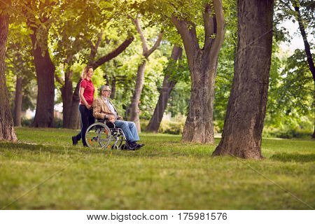happy family time- enjoying senior man in wheelchair and daughter in the park