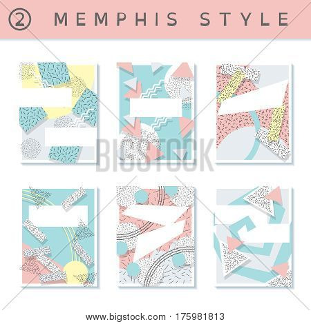 6 pastel colored memphis style covers with geometric shapes. US Letter size. Easily croppable to A4 size. Graphics are grouped and in several layers for easy editing. The file can be scaled to any size.