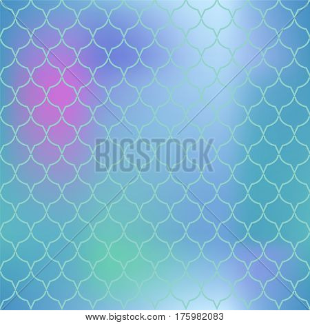 Colorful mesh fish skin vector pattern. Fish scale seamless pattern for marine design. Fishscale pattern square tile. Mermaid tail ornament for romantic sea banner background. Regular scale pattern