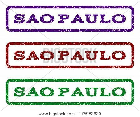 Sao Paulo watermark stamp. Text caption inside rounded rectangle with grunge design style. Vector variants are indigo blue, red, green ink colors. Rubber seal stamp with dust texture.