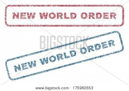 New World Order text textile seal stamp watermarks. Blue red fabric vectorized texture. Vector tag inside rounded rectangular banner. Rubber emblem with fiber textile structure.