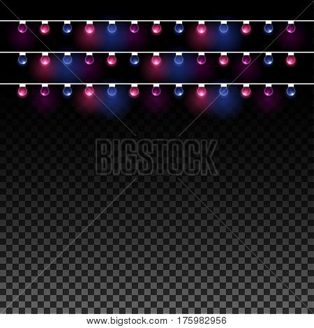Glowing garland Vector illustration Three rows of spherical glowing garlands on a transparent background Realistic style
