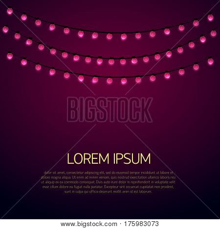 Colorful garland Vector illustration Three rows of pink glowing garlands on a lilac background Flat design