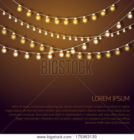 Glowing garland Vector illustration Confused rows of glowing garlands on a gold background Flat design