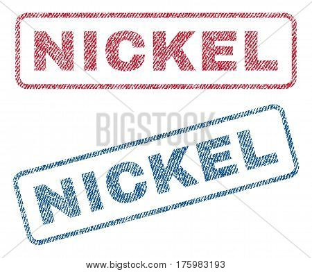 Nickel text textile seal stamp watermarks. Blue red fabric vectorized texture. Vector tag inside rounded rectangular shape. Rubber sticker with fiber textile structure.