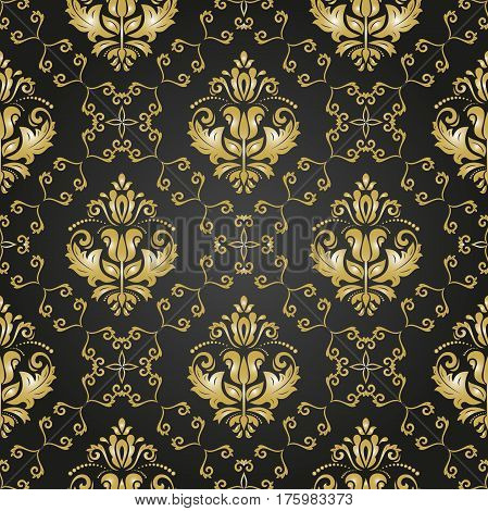 Seamless damask black and golden pattern. Traditional classic orient ornament