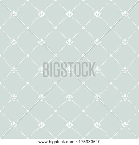 Seamless light blue and white ornament. Modern geometric pattern with royal lilies