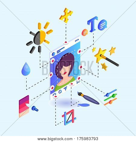 Instruments for photo editing instruments for a social network. Isometric vector illustration.