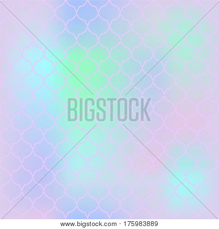 Romantic fish skin vector pattern. Abstract fish scale seamless pattern for marine design. Fishtail pattern background. Mermaid tail ornament with pink blue and green colors. Regular scale pattern