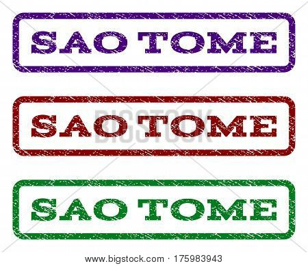Sao Tome watermark stamp. Text tag inside rounded rectangle with grunge design style. Vector variants are indigo blue, red, green ink colors. Rubber seal stamp with scratched texture.