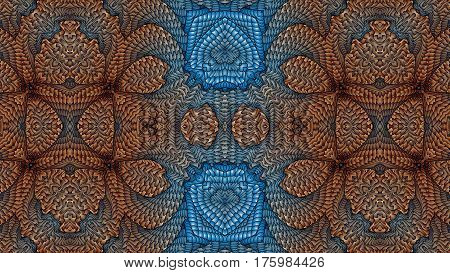 Kaleidoscopic beige and blue pattern is computer graphics and it can be used in the design of textiles in the printing industry in a variety of design projects.