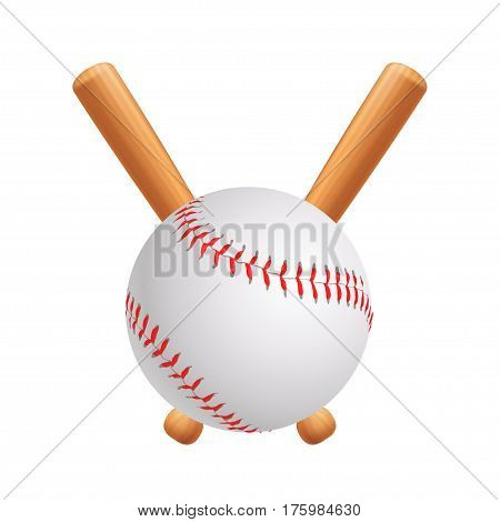 illustration of baseball ball and pair bats on bright background