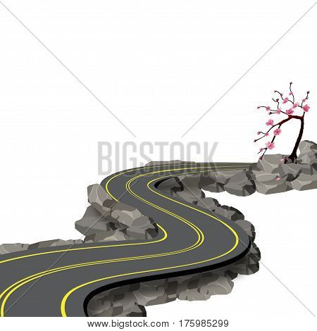 A winding road with markings among rocks and stones with a shadow. Cherry blossoms. Sakura. View in perspective. Vector illustration