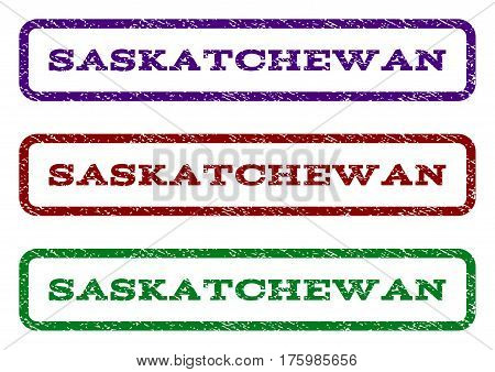Saskatchewan watermark stamp. Text caption inside rounded rectangle with grunge design style. Vector variants are indigo blue, red, green ink colors. Rubber seal stamp with scratched texture.